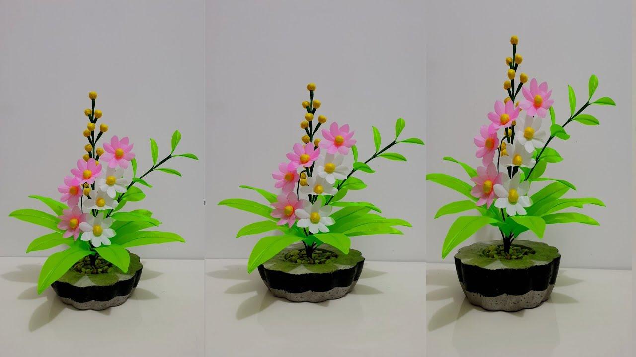 Bunga Hias Plastik Meja Tamu Dan Cara Membuatnya Beautiful Flower Crafts Youtube Bunga hiasan meja tamu