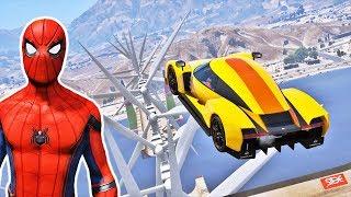 Homem Aranha e Peds Desafio com Super CARROS na Mega Rampa com Hélices! GTA V Mods Ep #66