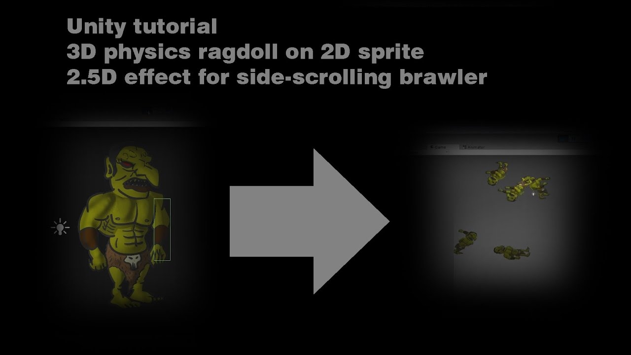 Unity tutorial 3D physics ragdoll on 2D sprite for 2 5D effect in  side-scrolling brawler game by gamedevfoo