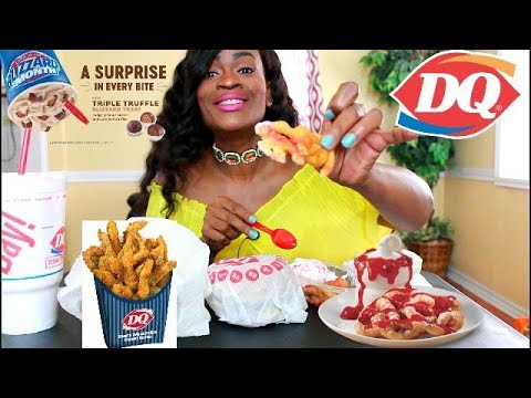 MUKBANG: DAIRY QUEEN NEW TRIPLE TRUFFLE BLIZZARD, JALITOS DOUBLE CHEESE BURGER, & FUNNEL CAKE!