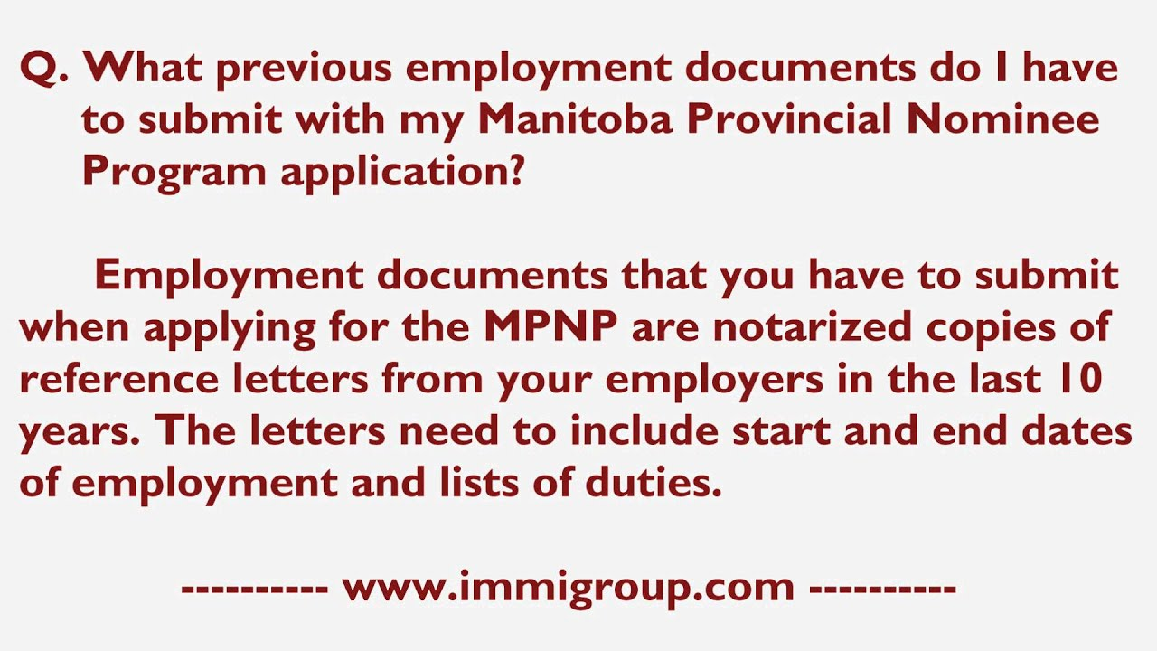 What Previous Employment Documents Do I Have To Submit With My Mpnp