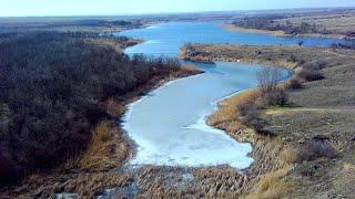 Бердянское водохранилище Полет над Волчьей балкой 14 03 2021