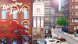 Narrow Living 🌆 🌉 | 3x6 Townhouse | The Sims 4 Tiny Living | Speed Build | CC Free + Download Links