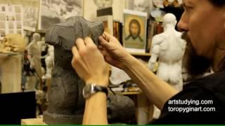 Лепка обрубовки торса (6) - Обучение скульптуре. Фигура, 11 серия