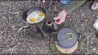 Ultra Cook Kit Ham & Eggs Sammy +  Pan Seasoning On The Firebox Nano Stove