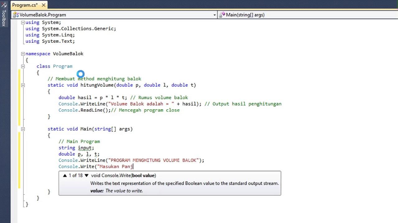 Visual Studio Menghitung Volume Balok Youtube