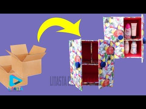 Keren !! ide kreatif membuat rak make up dari kardus bekas | DIY ROOM DECOR