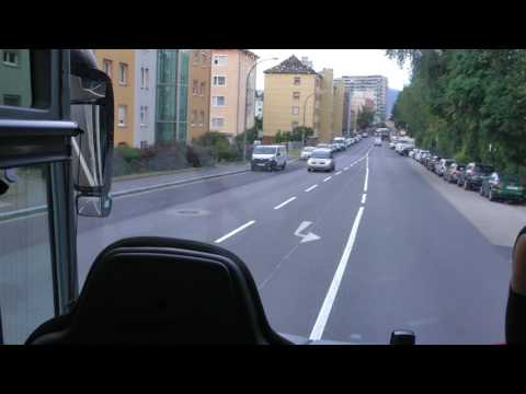 riding in Linz, Austria from Viking dock on Danube to A7 Autobahn in narrated Viking tour bus