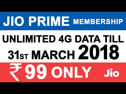Thumbnail: JIO PRIME MEMBERSHIP LAUNCHED | Free DATA TILL March 2018 | 99 Rupee OFFER | 303 RS PLAN