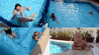 Baby swimming in pool | Как грудные дети плавают в бассейне | Bebe nadando | Bebek yüzüyor(Baby swimming in pool. 4 month old baby can swim by himself in deep pool. When he was 2 months old he started to swim with his mom https://goo.gl/gxEpwI, ..., 2016-08-17T18:32:43.000Z)
