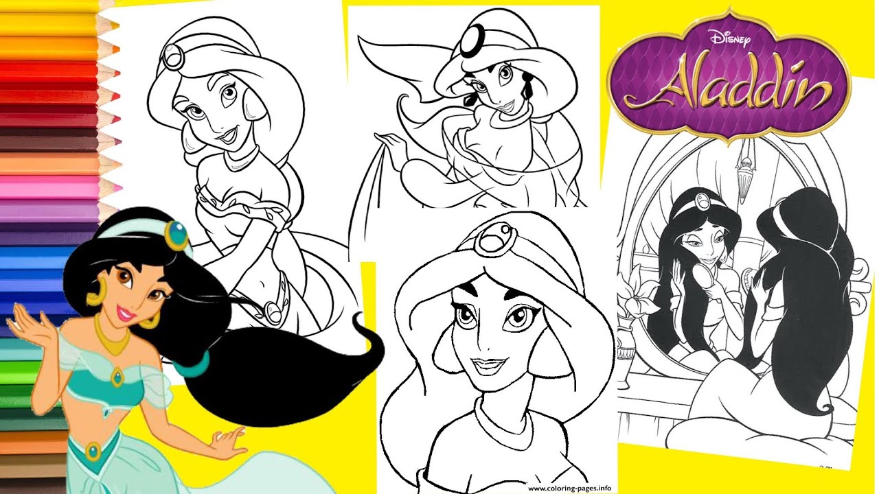 Coloring Disney Princess Jasmine Aladdin Coloring Pages For Kids Youtube