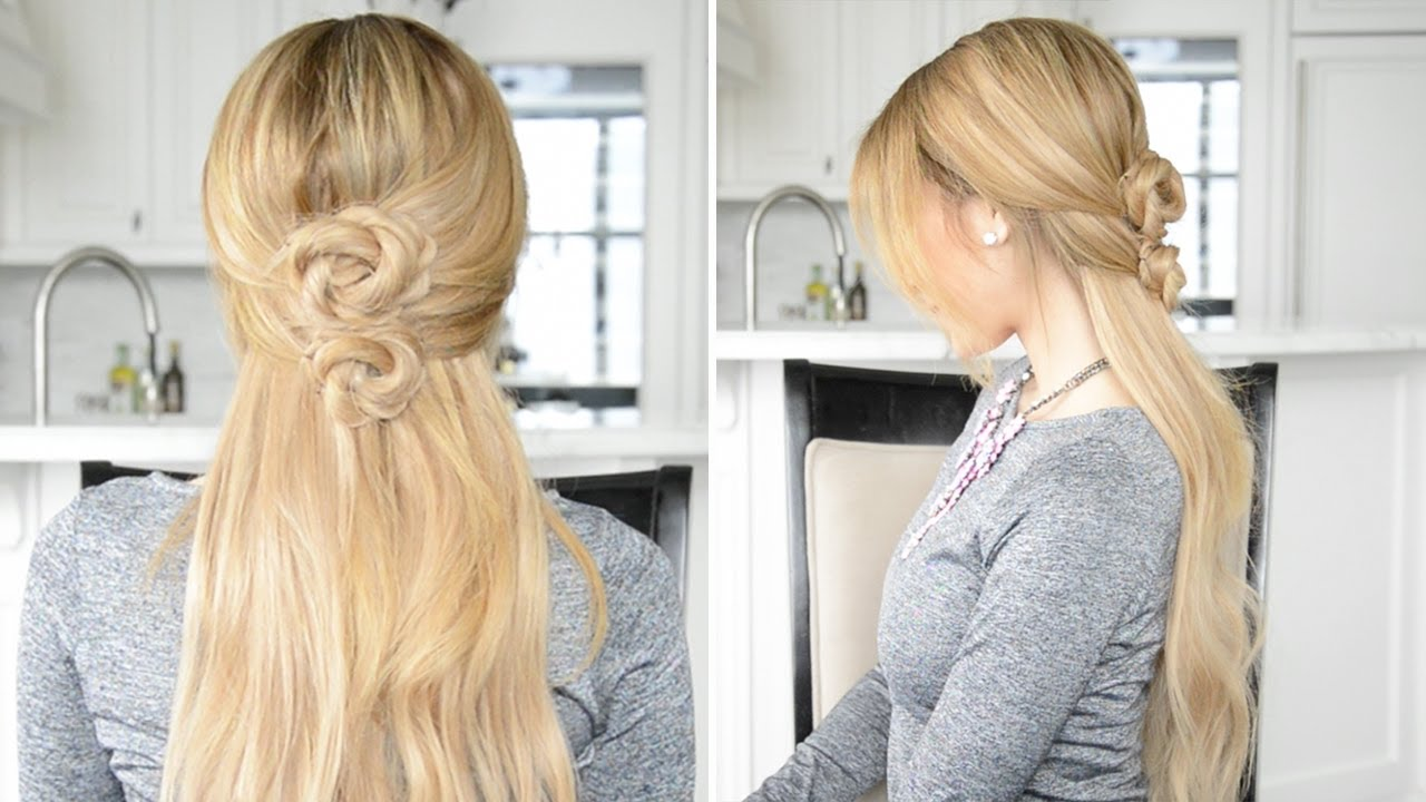 Rope Braid Chignon Half-Up Half-Down Hairstyle | Fancy Hair Tutorial ...