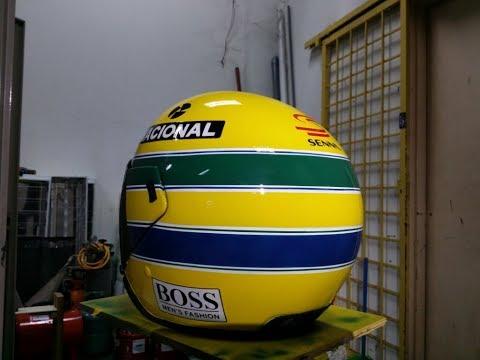 Ayrton Senna Half Face Helmet Airbrush