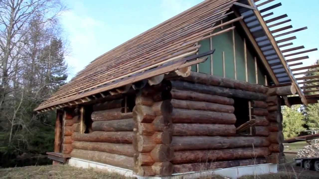 525 Small Log House Cedar Wooden Shingles Roof Roofing Roofworking Carpenty    YouTube