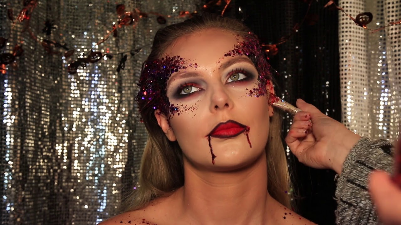 vampire makeup tutorial glitter vampire halloween look