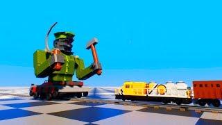 Lego Train vs BIG Lego Robot - Train Crash - Brick Rigs