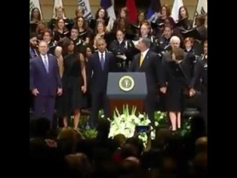 George W Bush Apparently Drunk and Dancing inappropriately at Dallas Memorial