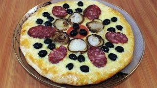 Пицца с луком и колбасой/Pizza with onions and sausage
