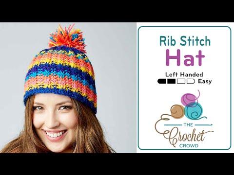 How to Tunisian Crochet: Rib Stitch Hat Left Handed - YouTube
