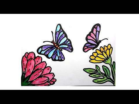 Cara Mewarnai Kupu Kupu Dan Bunga Youtube