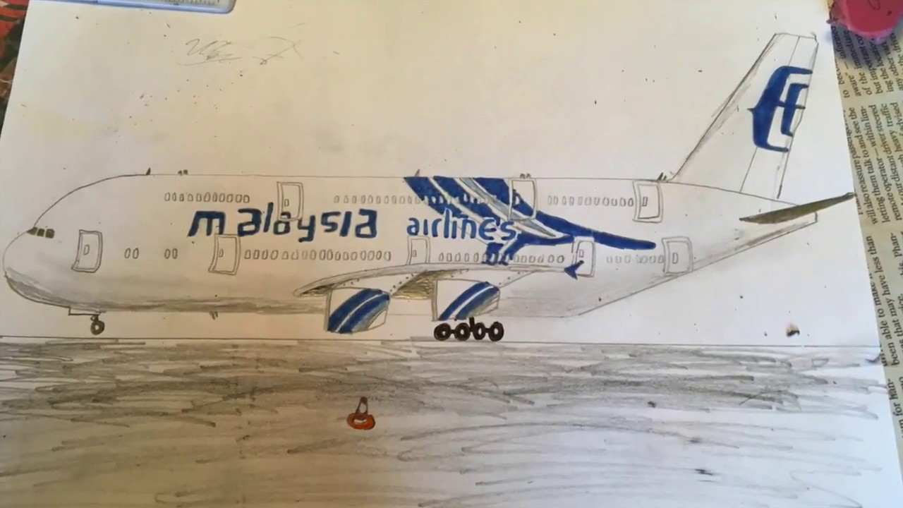 Malaysia Airlines A380 841 Timelapse Drawing