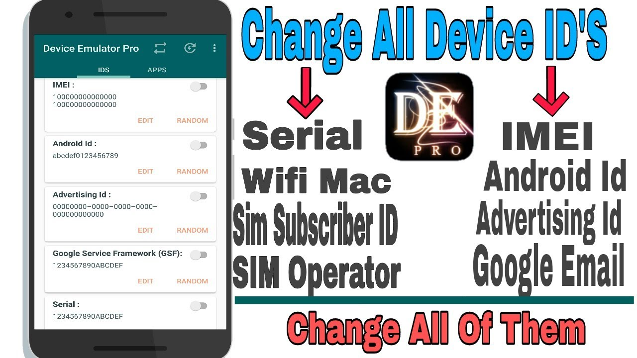 How to change device id | change all id's on android device
