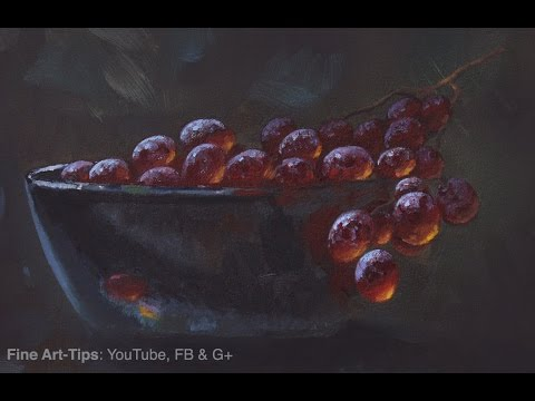 How to Paint Grapes With Oil - Narrated