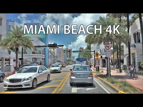 Driving Downtown - Miami Beach Florida USA