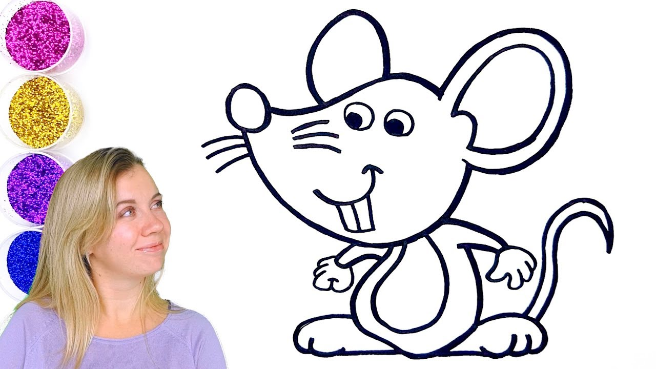 Cartoon Mouse Drawing Easy Glitter Cute Mouse Coloring Page For