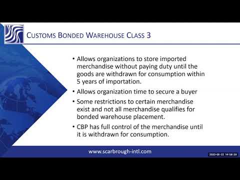 What is a U S  Customs bonded warehouse Class 3?