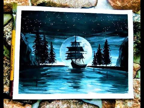Moonlight Ship Painting Tutorial Step by Step  | Acrylic Painting