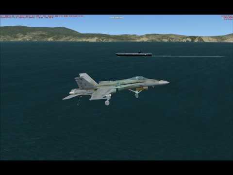 FSX Carrier Landing, Sludge Hornet, to the 180 turn.