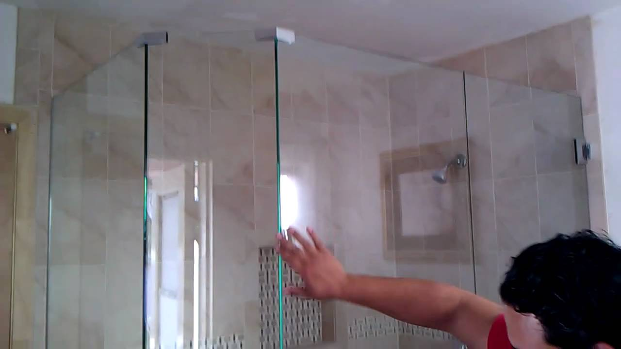 Frameless shower door neo angle - YouTube