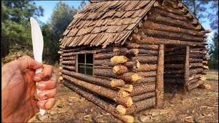 I built a giant log cabin using ONLY a plastic knife...