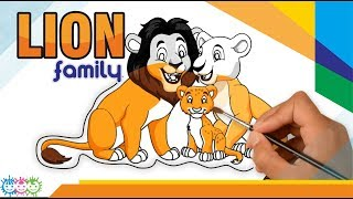Lion Family Animal | Cute Colouring Book Kids | playing while learning