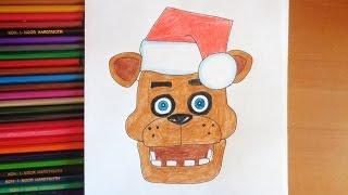 How to draw Freddy Christmas, FNAF, Как нарисовать Новогоднего Фредди