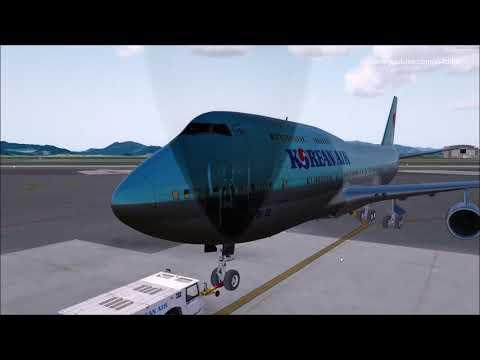 P3D v4 4 PMDG 747 Korean air 1120 RKPK-RKSS on vatsim event