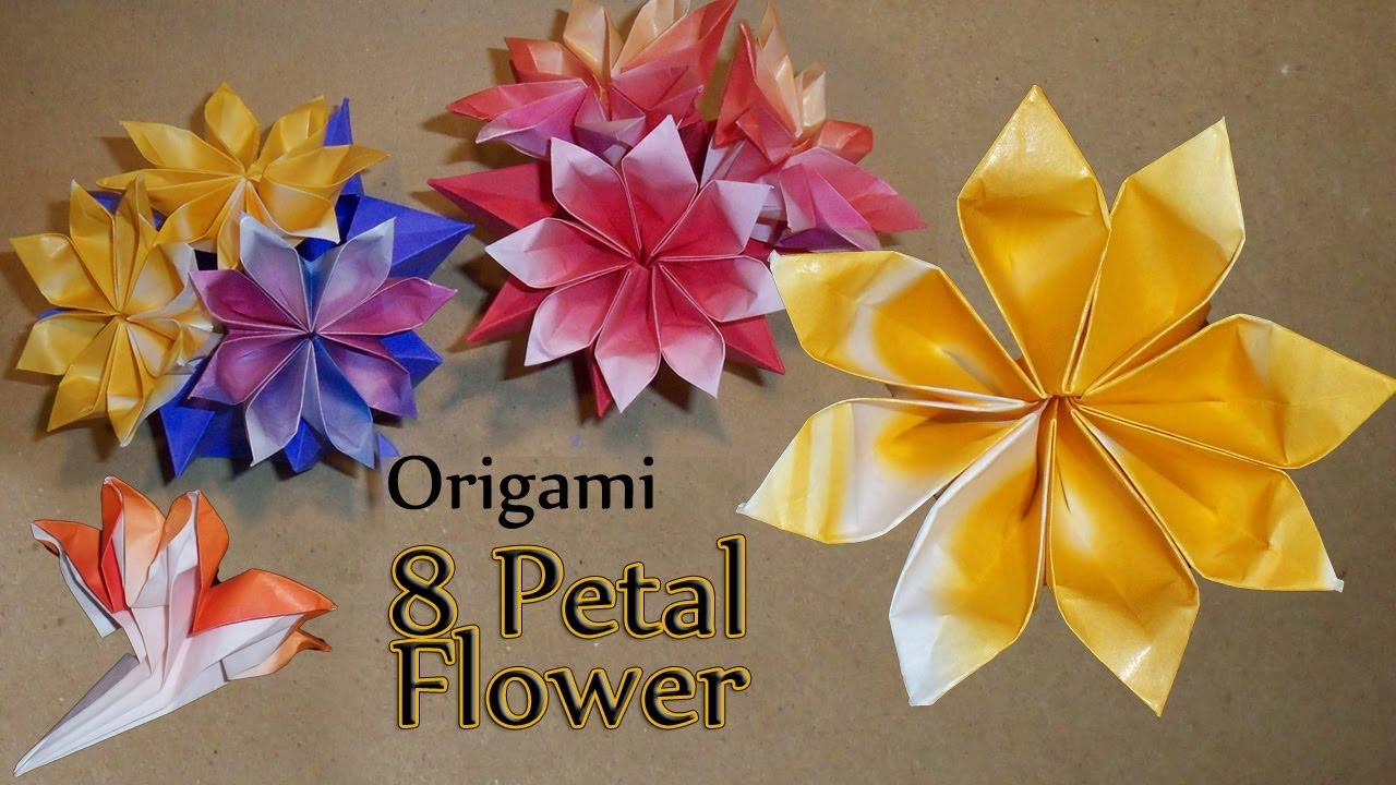 Origami 8 Petal Flower  YouTube