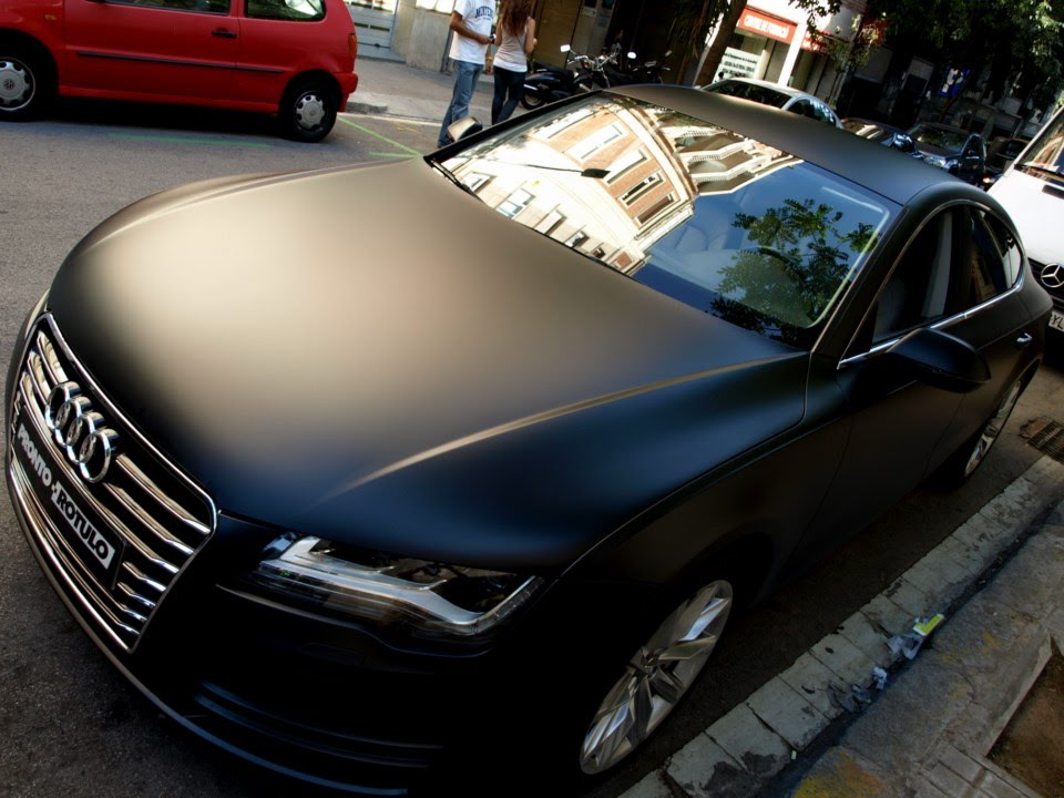 car wrapping audi a7 de azul a negro mate integral by