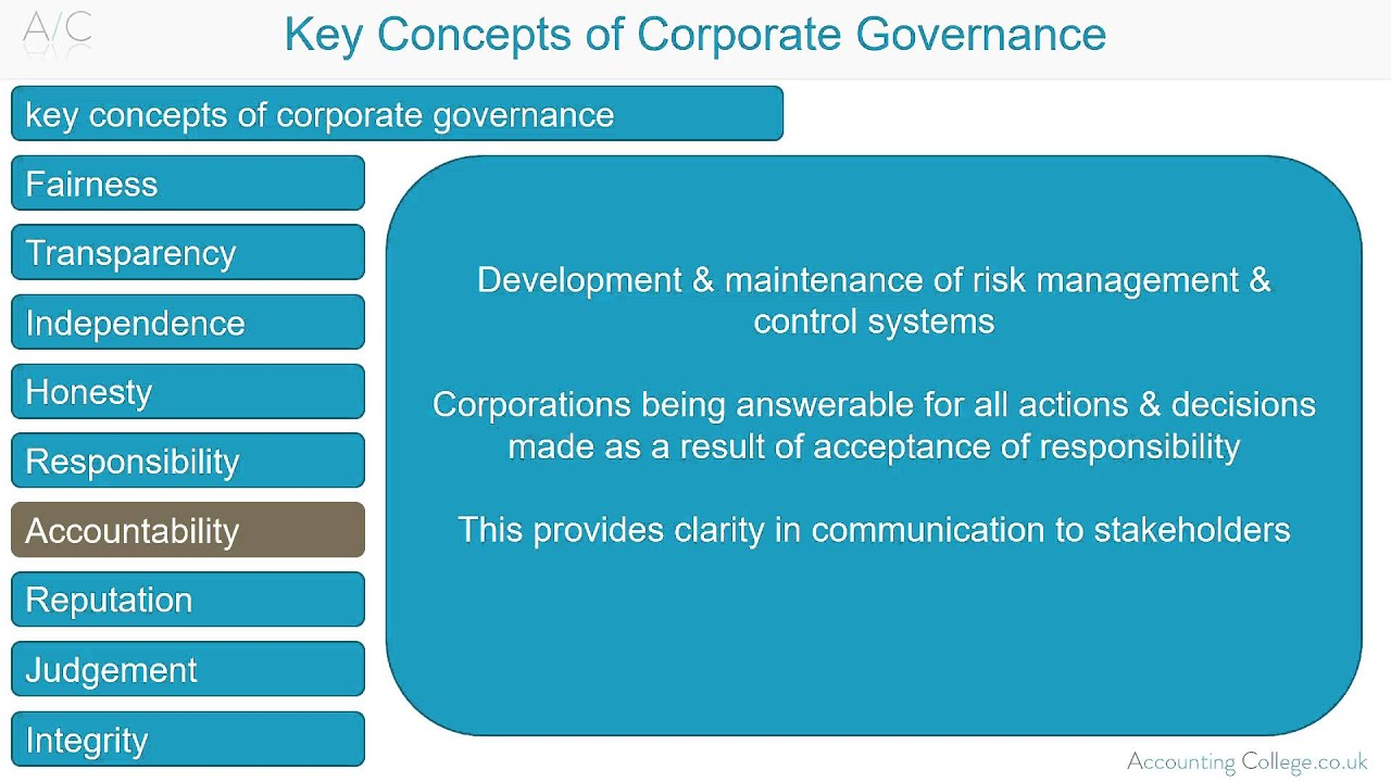 acca p1 key concepts in corporate governanace youtube