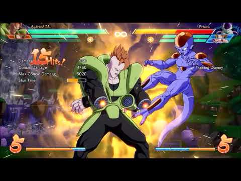 DBFZ: Android 16 combo (1 bar + Frieza Assist + 18 DHC) - 6.4k damage