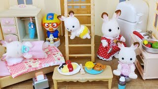 Baby Doll rabbit Sylvanian Two stoy house and bed toys pororo car play 아기 토끼 실바니안 이층집 하우스 뽀로로 장난감