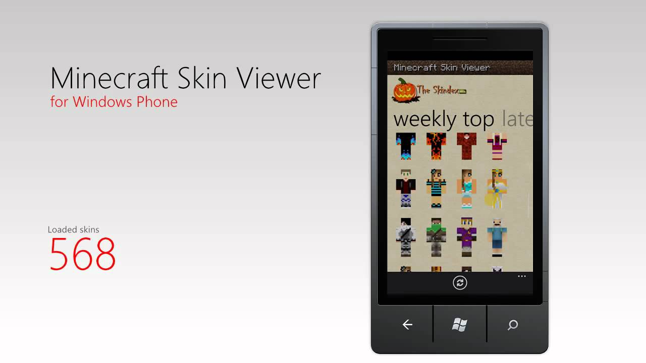 Minecraft Skin Viewer for Windows Phone - loading over 1000 skins test