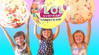 LOL Surprise Dolls Confetti POP Giant Balloon Surprise play with Ava Isla and Olivia