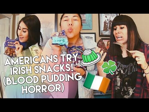 AMERICANS TRY IRISH SNACKS! | BLOOD PUDDING HORROR
