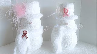 TIS THE SEASON SNOWMEN  | BREAST CANCER AWARENESS MONTH | QUICK AND EASY DIY | HOLIDAY DECOR 2019