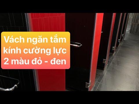 Phòng tắm kính - Kho Tư liệu Xây dựng - Vách ngăn phòng tắm bằng kính cường lực với 2 màu đỏ - đen mạnh mẽ, ấn tượng