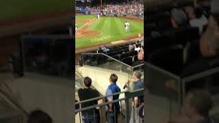 Fan runs on field at Citi Field - Almost tripped by player