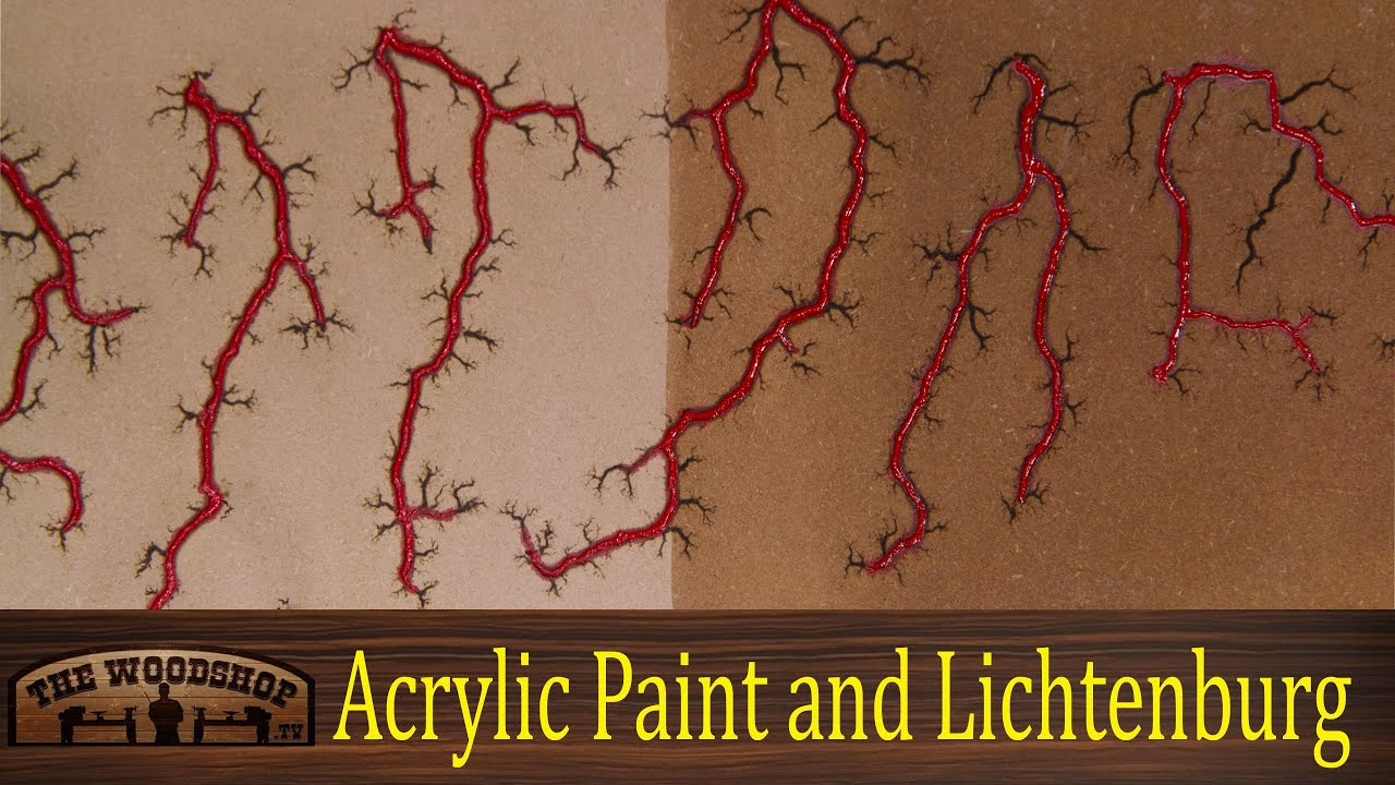 woodworking project filling lichtenberg figures with acrylic paint