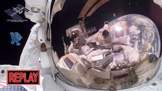 REPLAY: SPACEWALK #52 with Anne McClain & Nick Hague to install new batteries in the ISS (3/22/2019)